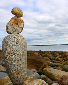 Stacked Stones - Camden Maine Beach